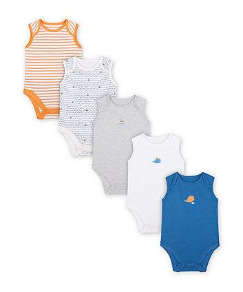 Mothercare Little Captain Bodysuits - 5 Pack