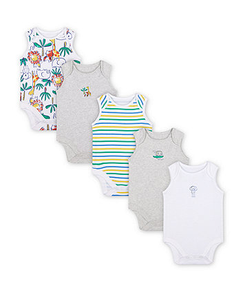 Mothercare Jungle Bodysuits - 5 Pack