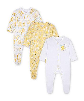 Mothercare Lemon Sleepsuits - 3 Pack