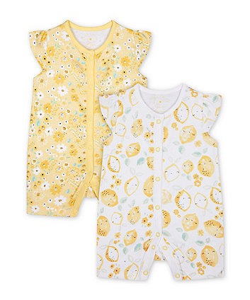 Mothercare Lemon And Floral Rompers - 2 Pack
