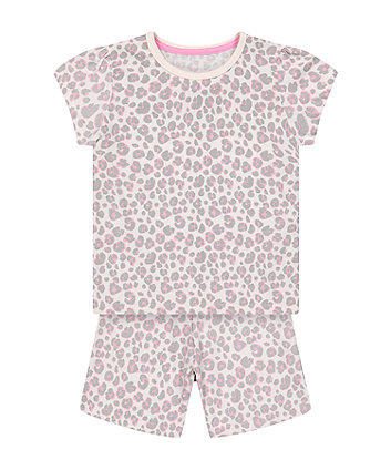 Mothercare Fashion Pink Leopard-Print Shortie Pyjamas