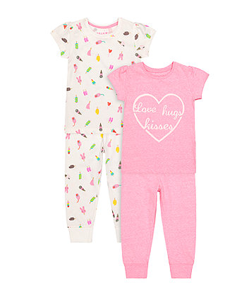 Mothercare Love, Hugs And Kisses Pyjamas - 2 Pack