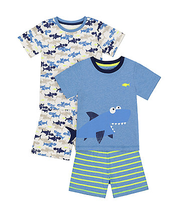 Mothercare Fashion Shark Shortie Pyjamas - 2 Pack