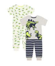 Mothercare Neon Dinosaur Pyjamas - 2 Pack