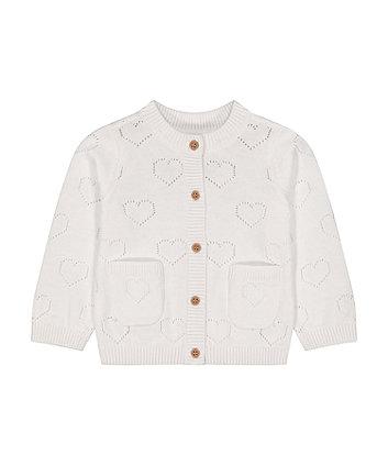 Mothercare Fashion White Heart Pointelle Cardigan