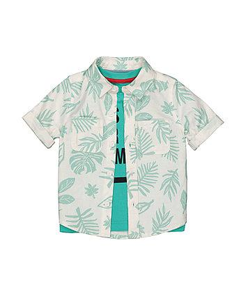 Mothercare Fashion Palm-Print Shirt And T-Shirt Set