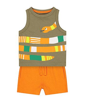 Mothercare Fashion Snake Vest T-Shirt And Shorts Set