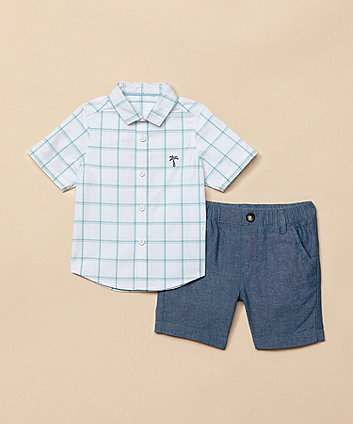 Checked Shirt And Chambray Shorts Set [SS21]