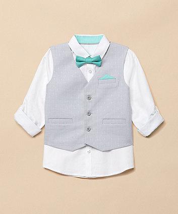 White Shirt, Grey Waistcoat And Green Bow Tie Set [SS21]