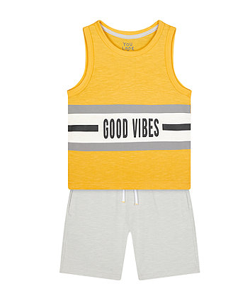 Mothercare Good Vibes Vest T-Shirt And Shorts Set