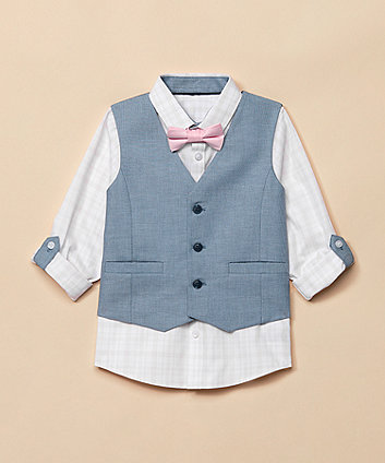 Pink Shirt, Bow Tie And Blue Waistcoat Set [SS21]