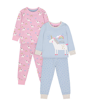 Mothercare Unicorn Pyjamas - 2 Pack