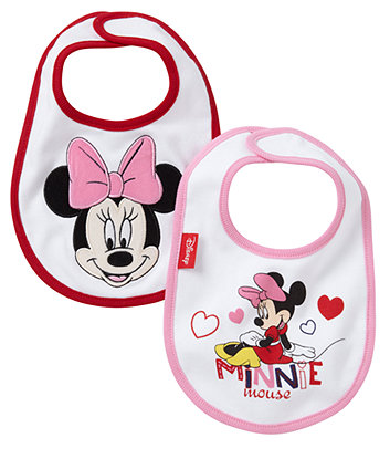 2 pack Girls Minnie Mouse bibs