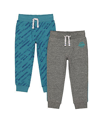 Mothecare Fashion Charcoal And Aqua Joggers - 2 Pack
