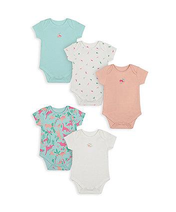 Mothercare Fashion Dinosaur Bodysuits - 5 Pack