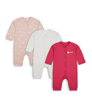 Mothercare Fashion Swan Fleece-Lined Sleepsuits - 3 Pack