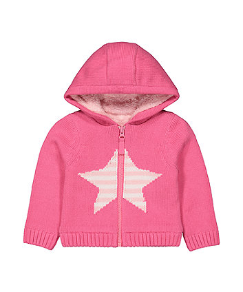 Mothecare Fashion Pink Star Knitted Hoody