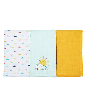 Mothercare I Love Sunshine Muslin Cloths - 3 Pack