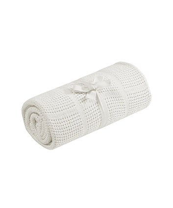 Mothercare Crib or Moses Basket Cellular Cotton Blanket- Cream