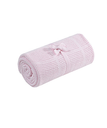 Mothercare Crib or Moses Basket Cellular Cotton Blanket - Pink
