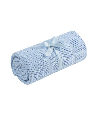 Mothercare Crib or Moses Basket Cellular Cotton Blanket- Blue