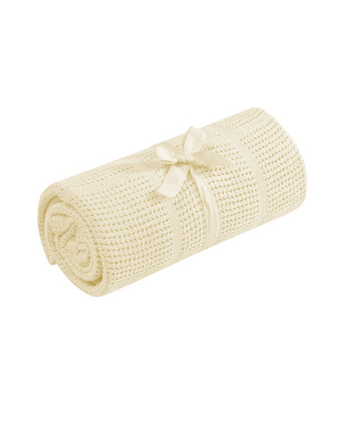 Mothercare Cot or Cot Bed Cellular Cotton Blanket- Yellow