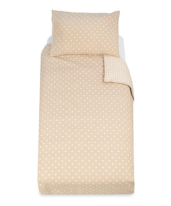 Mothercare Essential Cot Bed Pillowcase And Duvet Set- Beige