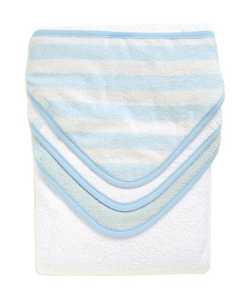 Mothercare Cuddle n Dry Hooded Towels -  Blue 3 Pack