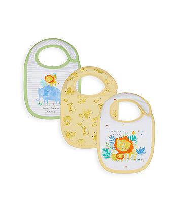 Mothercare Sleepy Safari Newborn Bibs - 3 Pack