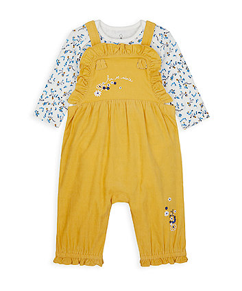 Yellow Cord Dungarees And Bodysuit Set [SS21]