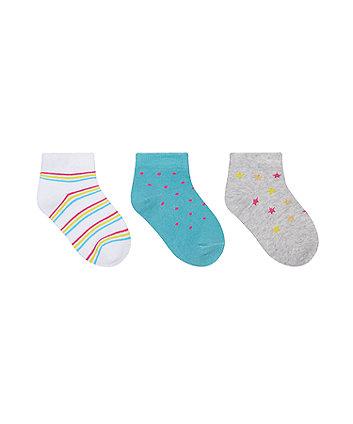 Star, Stripe And Spot Trainer Socks - 3 Pack [SS21]