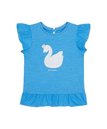 Blue Sequin Swan T-Shirt [SS21]