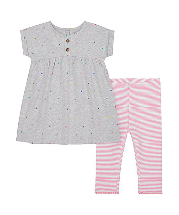 Spotty Dress And Striped Leggings Set [SS21]