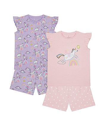 Unicorn And Rainbow Shortie Pyjamas - 2 Pack [SS21]