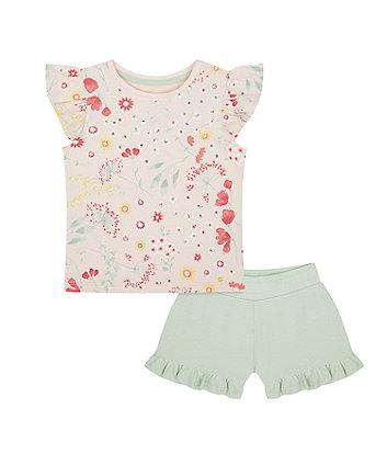 Pink Floral T-Shirt And Khaki Shorts Set [SS21]