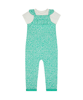 Green Floral Dungarees And T-Shirt Set [SS21]