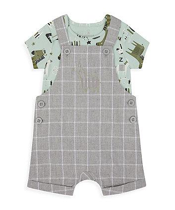 Grey Check Zebra Bibshorts And Bodysuit Set [SS21]
