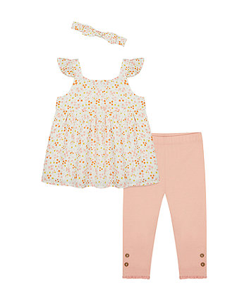Floral Top, Coral Leggings And Headband Set [SS21]