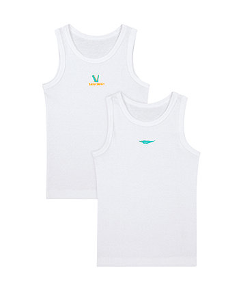 Crocodile White Vests - 2 Pack [SS21]