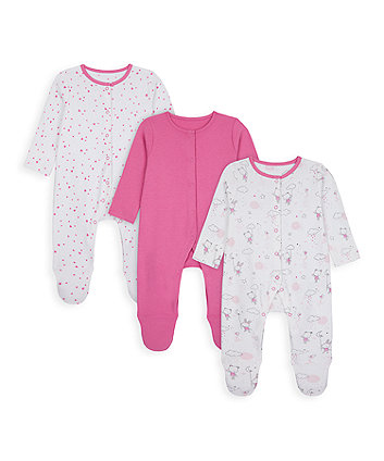 Pink Bunny And Bear Sleepsuits - 3 Pack [SS21]