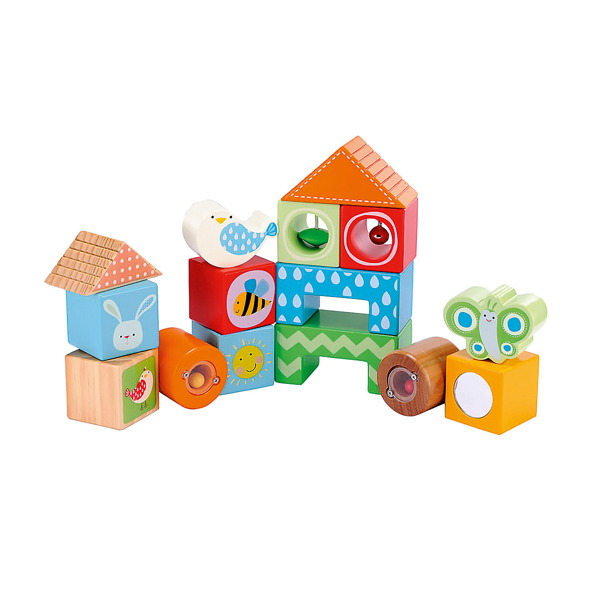 New ELC Boys and Girls Wooden Activity Bricks Toy From 12 months - Toddler Gifts