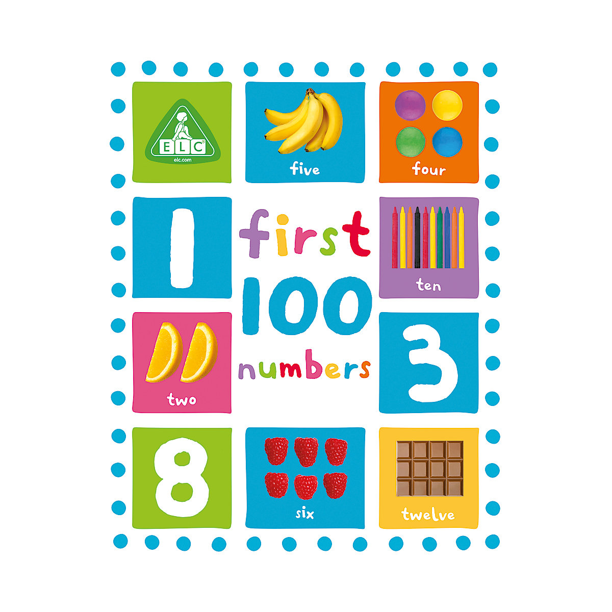 New ELC Boys and Girls First 100 Numbers Board Book Toy From Birth