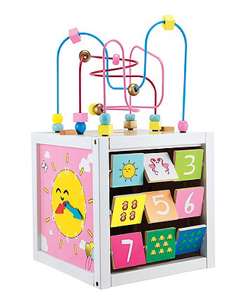 Giant Wooden Activity Cube - Pink
