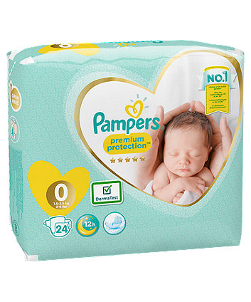Pampers new baby size 0 nappies (1.5 -2.5kg/3-6lbs) - 24 pack