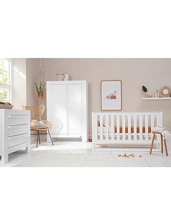 Tutti Bambini Rimini 3 Piece Room Set (Cot, Chest, Wardrobe) - Gloss White Finish