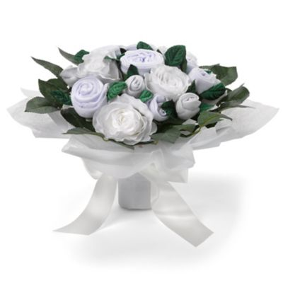 babyblooms luxury rose baby clothes bouquet - white