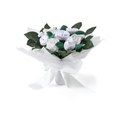 babyblooms hand tied baby clothes bouquet - white