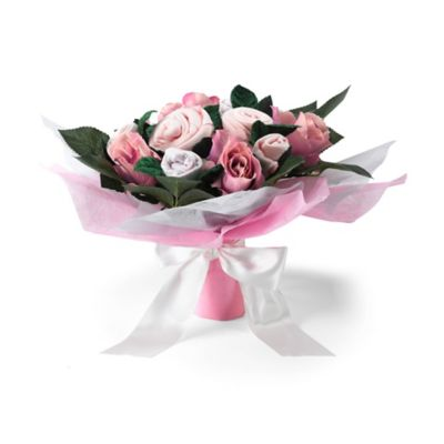 babyblooms hand tied baby clothes bouquet - pink