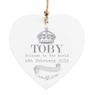 personalised royal baby wooden heart decoration