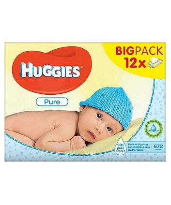 Huggies pure wipes 12 x 56 sheets